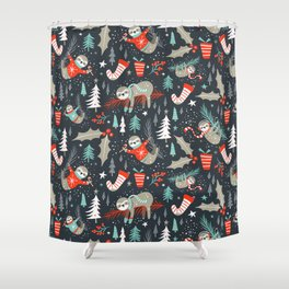 Slothy Holidays Shower Curtain