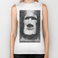 easter Biker Tanks featuring Easter island - Moai statue - Ink by Nicolas Jolly