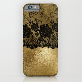 Black luxury lace on gold glitter effect metal- Elegant design iPhone Case