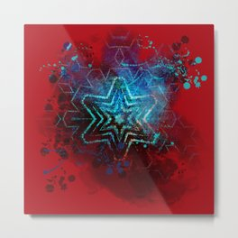 Glowing abstract blue star on blood red Metal Print