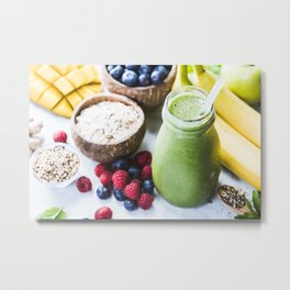 fresh smoothie with fruits, berries, oats and seed Metal Print