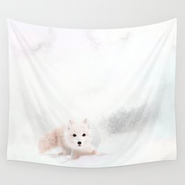 Fox In A Snowstorm Wall Tapestry
