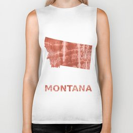 Montana map outline Red-brown colorful wash drawing painting Biker Tank