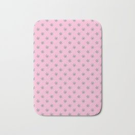 Cadmium Green on Cotton Candy Pink Snowflakes Bath Mat