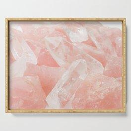 Light Pink Rose Quartz Crystals Serving Tray