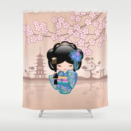 Japanese Keiko Kokeshi Doll Shower Curtain