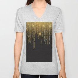 Gold draping glitter on black Unisex V-Neck