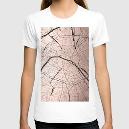 Paris France Minimal Street Map - Rose Gold Glitter on Black T-shirt