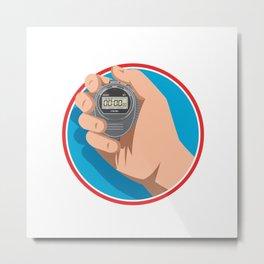 Hand Holding Digital Stopwatch Retro Style Metal Print