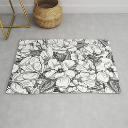 Magnolia Flower Line Art Floral Graphic Print Black and White Drawing Rug