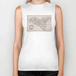 Vintage Map of Sicily Italy (1764) Biker Tank