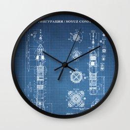 Soyuz Blueprint in High Resolution (light blue) Wall Clock