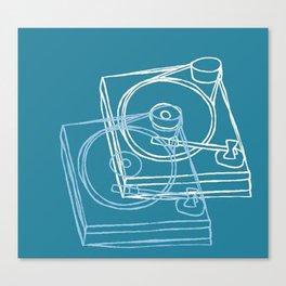 Blue Record Player Canvas Print