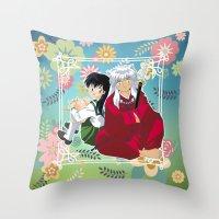 inuyasha Throw Pillows featuring Inuyasha & Kagome by Neo Crystal Tokyo