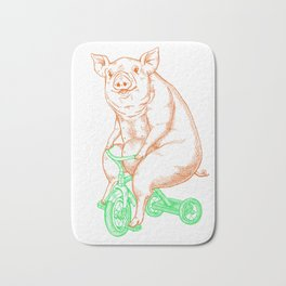 Piggy on a Tricycle Bath Mat
