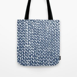 Hand Knit Zoom Navy Tote Bag