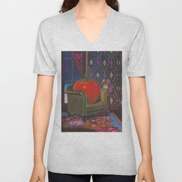 Therapy With A Tomato Milton Glaser - Tomato- Something unusual is going on here - 1978 Unisex V-Neck