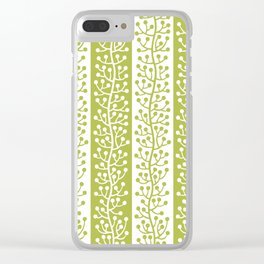 Mid Century Modern Berry Vine Stripes Chartreuse Clear iPhone Case