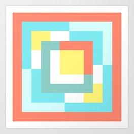 Squares Salmon + Cyan + Yellow Art Print