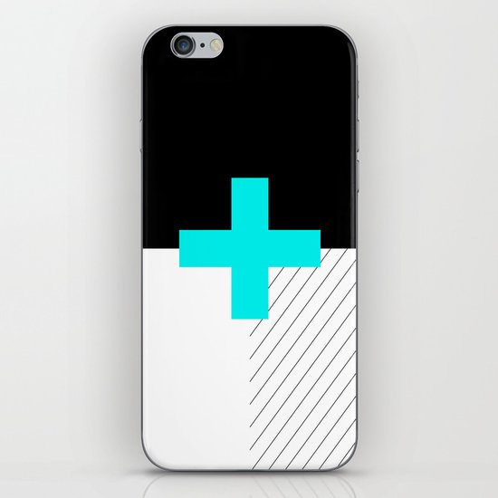 Neon Cross (Blue) // Neon Plus (Blue) iPhone & iPod Skin