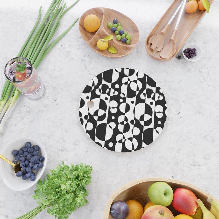 Black White Geometric Circle Abstract Modern Print Cutting Board