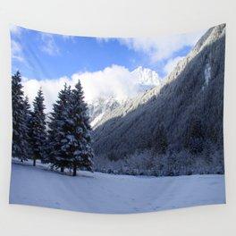 Alpine Winterscene Wall Tapestry