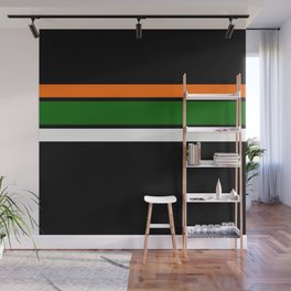 TEAM COLORS 2.....GREEN, ORANGE and white Wall Mural