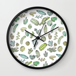Cute Green Watercolor Paint Summer Cactus Pattern Wall Clock