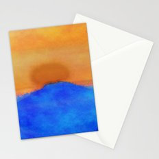 Blue landscape at sunset Stationery Cards