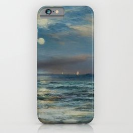 Moonlit Beach Seascape No. 2 landscape painting by Thomas Moran iPhone Case