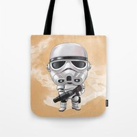 storm trooper Tote Bags featuring STORM TROOPER by Leoren