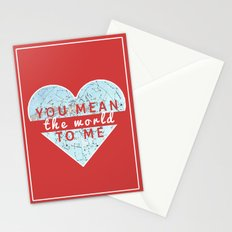 You Mean The World To Me Love   Stationery Cards