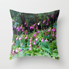 Wild Orchid Lady Slipper Forest Flowers Found in Rhode Island Throw Pillow