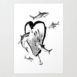 Heart&Sharks Art Print