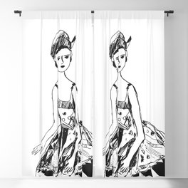 French girl white-black drawing Blackout Curtain