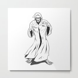 Grim reaper holding an hourglass -  black and white Metal Print