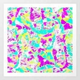 Artsy Modern Abstract Neon Acrylic Paint Splatter Art Print