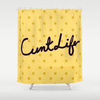 cunt Shower Curtains featuring cunt life yellow by Andy Aidekman