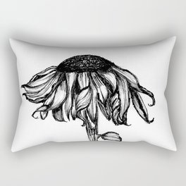 Wilted Flower Ink Drawing Rectangular Pillow