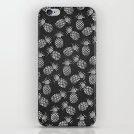 Tropical modern black gray pineapple fruit pattern iPhone Skin