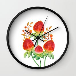 Hand painted orange red green watercolor fall floral Wall Clock