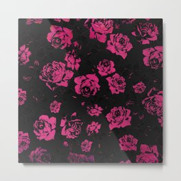 Girly Pink Rustic Floral Roses and Black Pattern Metal Print