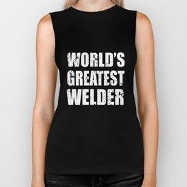 world_s greatest welder black and white shirt career human job engineer Biker Tank