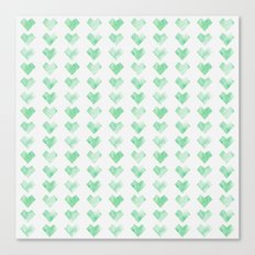 Watercolor Green Hearts Canvas Print