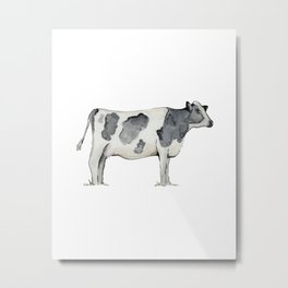 Cow, Watercolor Painting, Rustic Farmhouse Metal Print
