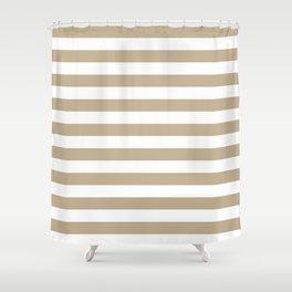 Narrow Horizontal Stripes - White and Khaki Brown Shower Curtain