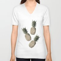 pineapples V-neck T-shirts featuring Cheers Pineapples by Yilan