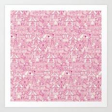 retro circus pink ivory Art Print