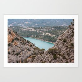 Blue mountain lake in France Art Print