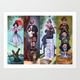 Disneyland Haunted Mansion Stretching Room Portraits Art Print